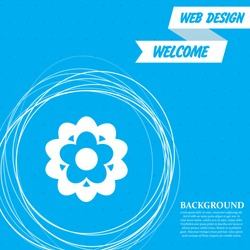 flower icon on a blue background with abstract circles around and place for your text. Vector illustration