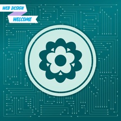flower icon on a green background, with arrows in different directions. It appears on the electronic board. Vector illustration