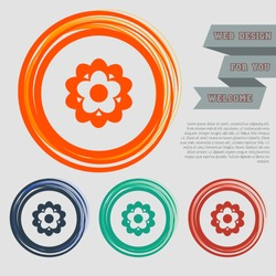 flower icon on the red, blue, green, orange buttons for your website and design with space text. Vector illustration