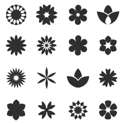 Flower icon set - isolated on white background. Collection of trendy flower icons in flat style. Template for app, sticker, label, tag and logo. Creative art concept, vector illustration