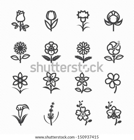 flower icons for pattern with