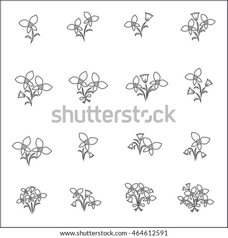 Flower Icons for Pattern with White Background #464612591