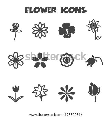 flower icons, mono vector symbols
