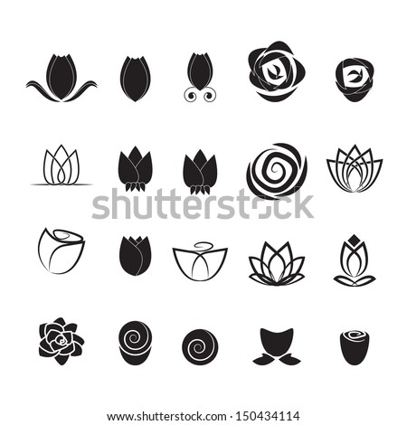 Flower Icons Set - Isolated On White Background - Vector illustration, Graphic Design Editable For Your Design. Flower Sign Logo