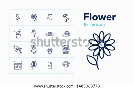 Flower icons. Set of line icons on white background. Flower shop, houseplant, flower basket. Floriculture concept. Vector can be used for topics like plants, botany, gardening