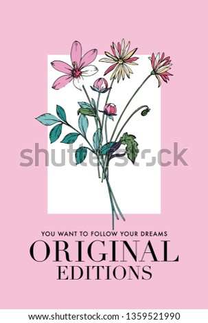 Flower illustrations with Original Edition slogan. For t shirt and other uses.