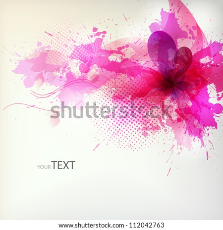 flower in colorful ink splattered pink background. Vector design