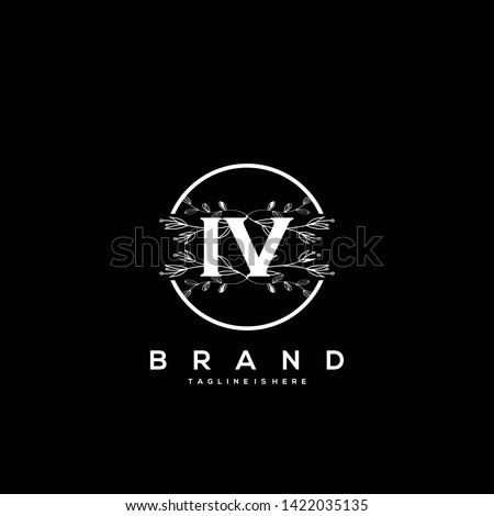 flower initial letter iv logo