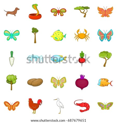 flower insects icons set