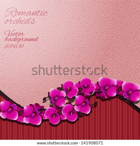 Flower invitation or greeting card with orchids. Vector illustration