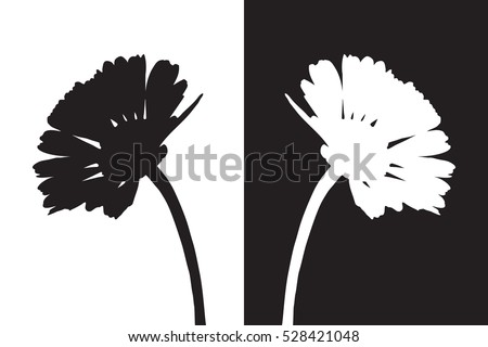 Flower isolated vector, black shadow flora, floral outline, blossom contour, bloom botany silhouette, white daisy tattoo