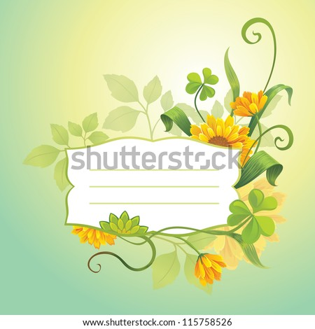 flower label template - stock vector