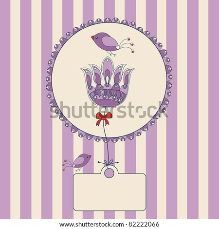 flower label with purple and white striped background and space for your text