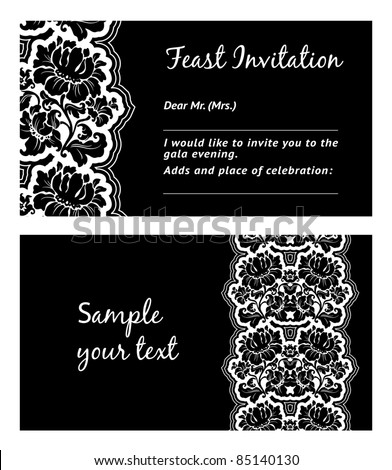 Flower lace, greeting card, space for your text, vector. Can be used for invitations to any of your ceremony. For example a funeral.