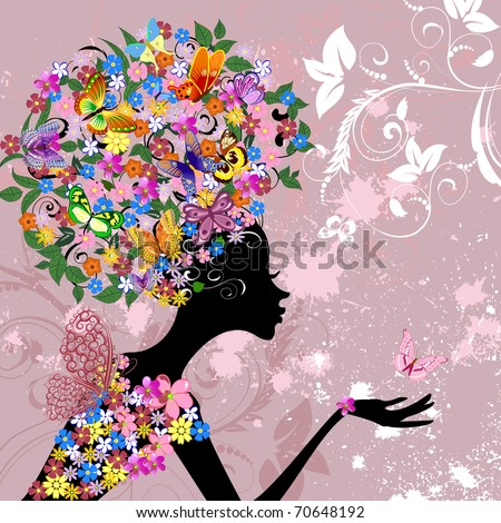 flower lady with butterflies
