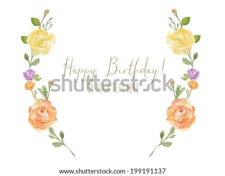Flower Laurel Wreath With Happy Birthday Calligraphy Text. Watercolor Flower Wreath Happy Birthday Card
