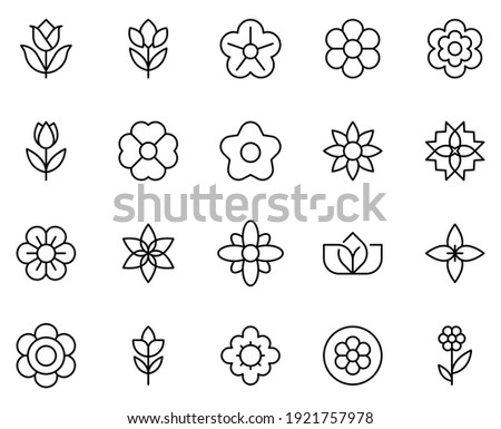 Flower line icon set. Collection of high quality black outline logo for mobile concepts and web apps. Flower set in trendy flat style. Vector illustration on a white background