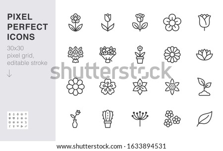 Flower line icon set. Rose, tulip in vase, fruit bouquet, spring blossom, cactus minimal vector illustration Simple outline signs for flowers delivery application. 30x30 Pixel Perfect Editable Strokes