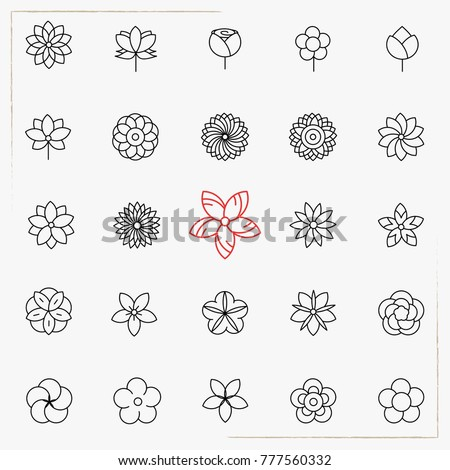 Flower line icons set #777560332
