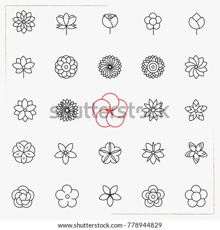 Flower line icons set #778944829