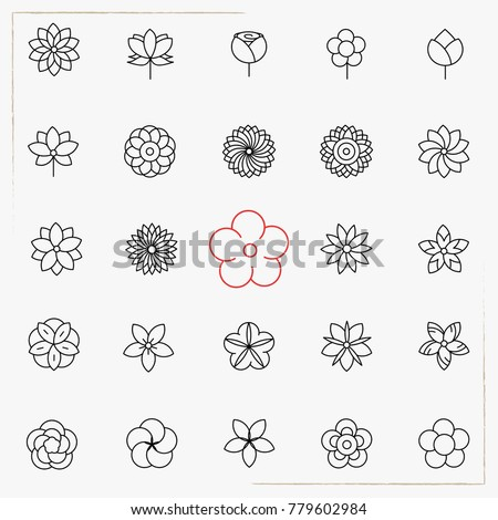 Flower line icons set #779602984