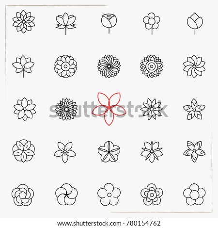 Flower line icons set #780154762