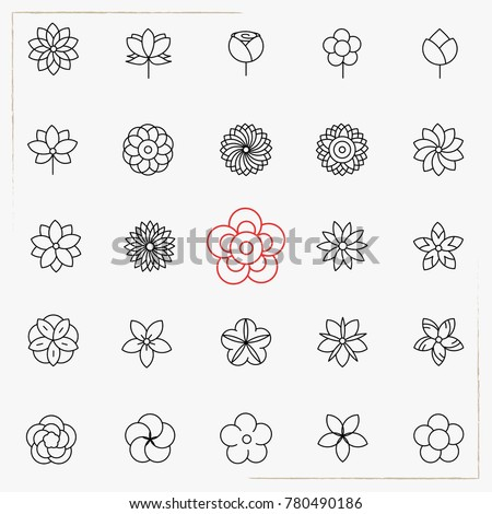 Flower line icons set #780490186