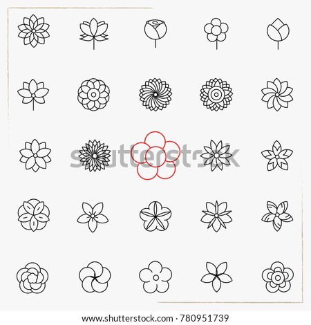 Flower line icons set #780951739