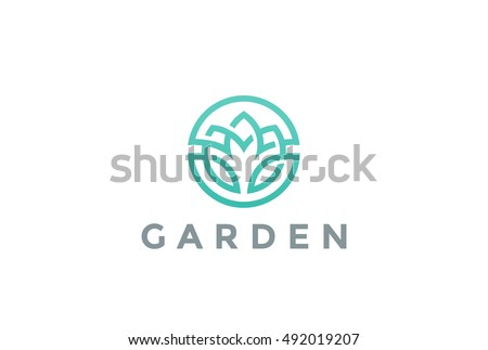 Flower Logo circle abstract design vector template. Lotus SPA icon. Cosmetics Hotel Garden Beauty salon Logotype concept.