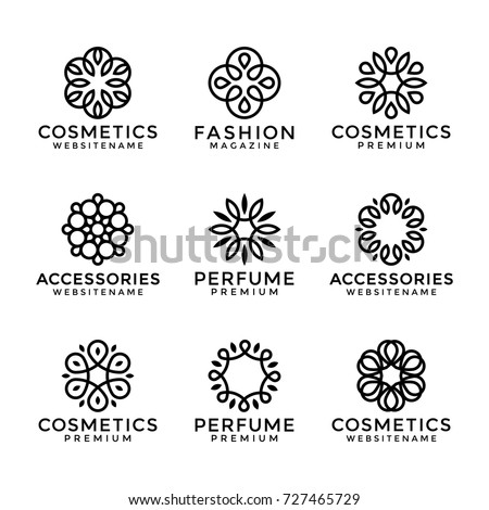 Flower logo templates in trendy linear style, vector floral icons and elegant lineart monograms.