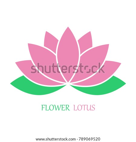 Flower lotus in flat style, pink and green color. Vector icon. eps 10