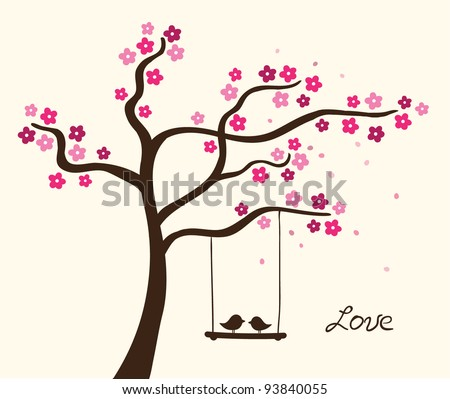 flower love tree vector
