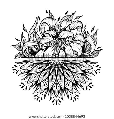 Flower Mandala. Vintage decorative element. Coloring book page