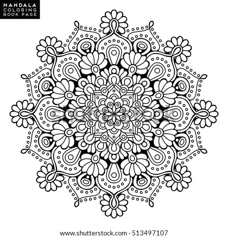 Adult Coloring Page Outline Mandala Black And White Round Ethnic