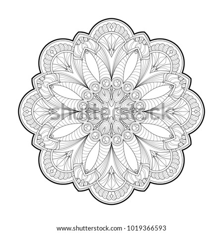 Flower Mandala. Vintage round pattern. Oriental image, vector illustration. Coloring book page