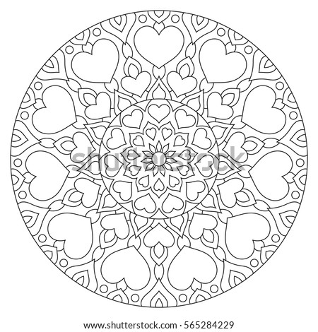 flower mandala with hearts