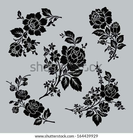 flower motif set vintage rose collection with floral elements buds and leafs rose bouquet. Black Bedroom Furniture Sets. Home Design Ideas