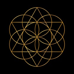 Flower of Life. Golden Vector Sacred Geometry isolated on black.