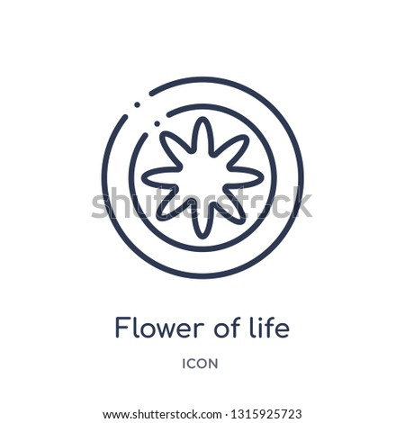 flower of life icon from shapes and symbols outline collection. Thin line flower of life icon isolated on white background.
