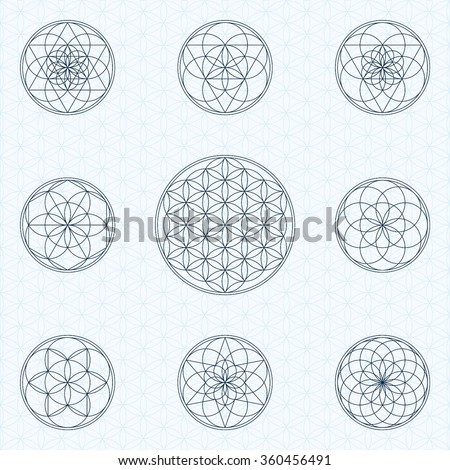 Flower of life. Sacred geometry linear contour icons