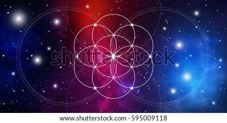 Flower of life. Sacred geometry website banner with golden ratio numbers, interlocking circles, flows of energy and particles in front of outer space background. The formula of nature.