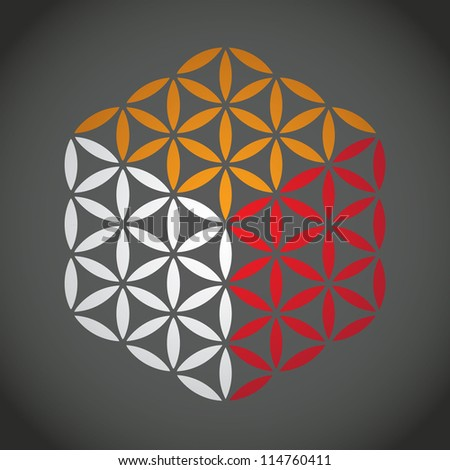 flower of life symbol color cube - illustration