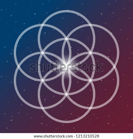 flower of life symbol on a cosmic interlocking circles space blue and red sacred geometry psychedelic vector.