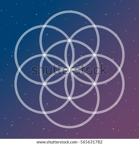 flower of life symbol on a cosmic interlocking circles space sacred geometry psychedelic vector