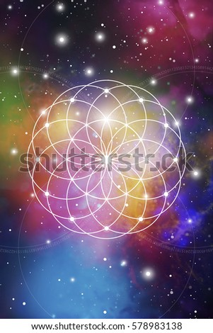 Flower of life - the interlocking circles ancient symbol in front of outer space background. Sacred geometry - mathematics, nature, and spirituality, the formula of nature.