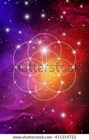 Flower of life - the interlocking circles ancient symbol on outer space background. Sacred geometry. Fibonacci row. The formula of nature. Self-knowledge in meditation.