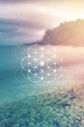 Flower of life - the interlocking circles ancient symbol. Sacred geometry. Mathematics, nature, and spirituality in universe. Self-knowledge in meditation.