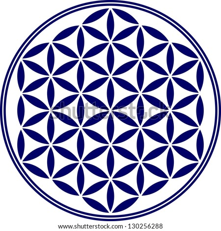 Flower of life vector sacred geometry symbol harmony and balance