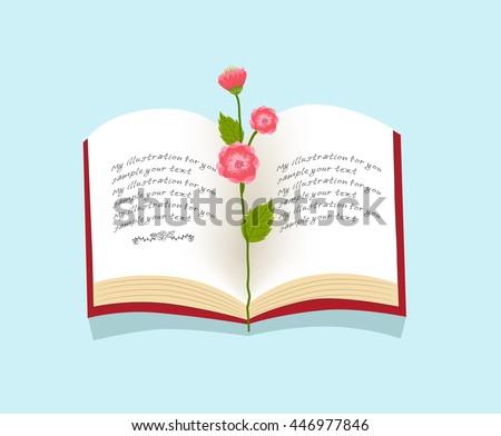 flower on open book vector