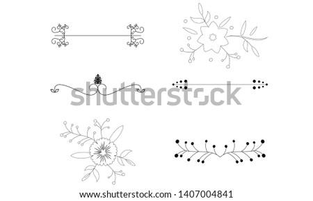 Flower ornament dividers. Hand drawn vines decoration, floral ornamental divider and sketch leaves ornaments logo